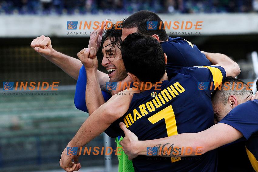 esultanza gol Luca Toni Hellas. Goal celebration <br /> Verona 05-04-2014 Stadio Bentegodi - Football Calcio 2013/2014 Serie A, Chievo - Hellas Verona  <br /> foto Daniele Buffa/Image Sport/Insidefoto