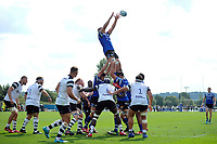 Tom Ellis of Bath United wins the ball at a lineout. Premiership Rugby Shield match, between Bristol Bears A and Bath United on August 31, 2018 at the Cribbs Causeway Ground in Bristol, England. Photo by: Patrick Khachfe / Onside Images