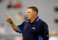 Aug. 22, 2009; Glendale, AZ, USA; San Diego Chargers special teams coach Steve Crosby against the Arizona Cardinals during a preseason game at University of Phoenix Stadium. Mandatory Credit: Mark J. Rebilas-
