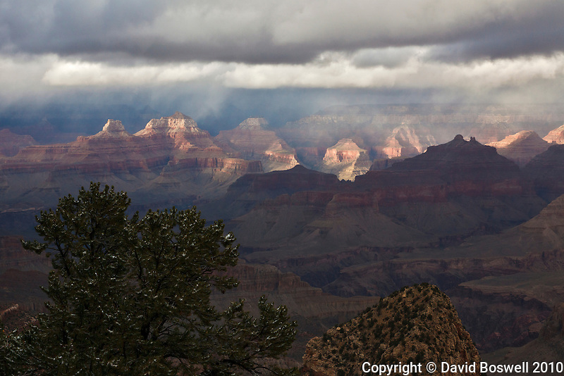 A November storm leads to dramatic lighting over the Grand Canyon, taken on the Grandview Trail during a backpacking trip to Horseshoe Mesa, below the South Rim.