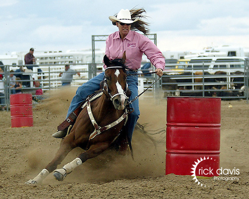 Cathy Hadley turns in a time of 17.46 seconds in the ladies barrel racing at the Southeast Weld County CPRA Rodeo in Keenesburg, Colorado on August 12, 2006.