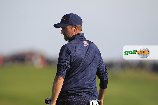 Webb Simpson (Team USA) on the 9th green during Saturday Foursomes at the Ryder Cup, Le Golf National, Ile-de-France, France. 29/09/2018.<br /> Picture Thos Caffrey / Golffile.ie<br /> <br /> All photo usage must carry mandatory copyright credit (© Golffile | Thos Caffrey)
