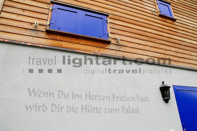 Spruch an Haus, Malbun, Fürstentum Liechtenstein, Principality of Liechtenstein.