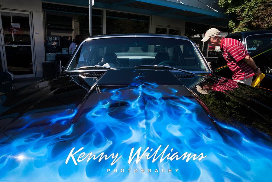 Black 1970 Chevrolet Nova Blue Flames, Return to Renton Auto Show 2017, Washington, USA.
