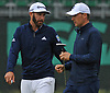 Dustin Johnson, left, and Jordan Spieth head to the tee on the 17th Hole during a practice round prior to the U.S. Open Championship at Shinnecock Hills Golf Club in Southampton on Wednesday, June 13, 2018.