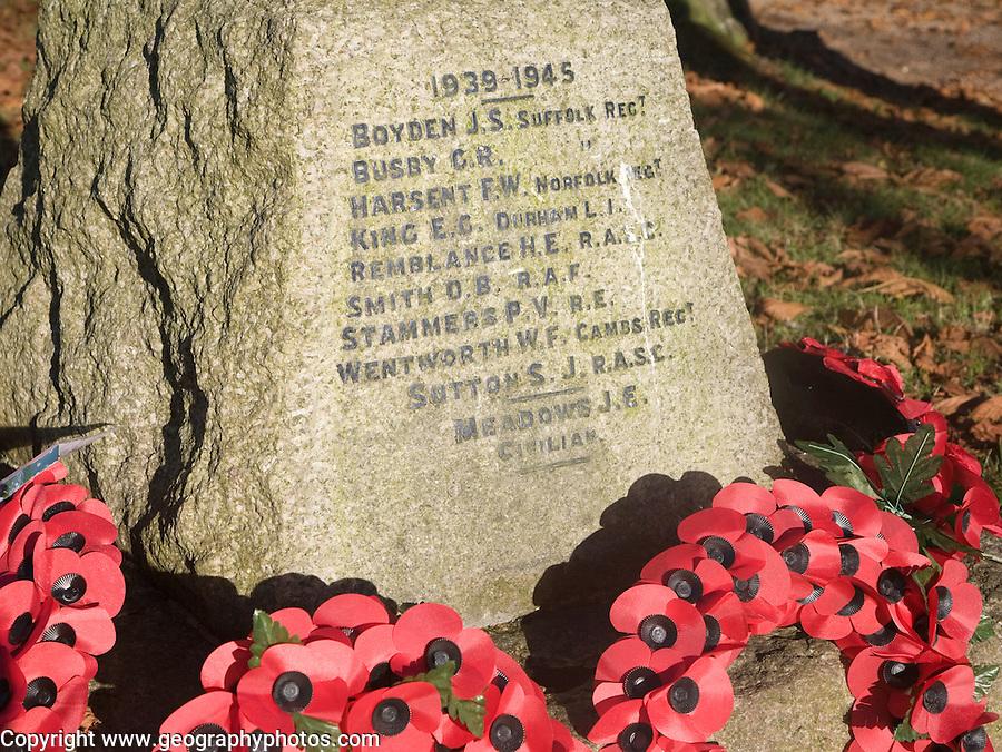 Village second world war memorial with poppy wreaths, Reydon, Suffolk, England