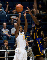 Jordan Mathews of California shoots the ball during the game against Coppin State at Haas Pavilion in Berkeley, California on November 8th, 2013.    California defeated Coppin State, 83-64.