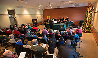 "NWA Democrat-Gazette/J.T. WAMPLER The Ozark Bronze Handbell Ensemble performs their holiday show ""Dashing Through the Decades"" Sunday Dec. 2, 2018 at the Fayetteville Public Library. The group have been rehearsing the show since August. They perform again on Dec. 8 at the Primrose Retirement Community in Rogers at 11:30 A.M. and at the Gardens at Arkanshire in Springdale at 3:00 P.M."