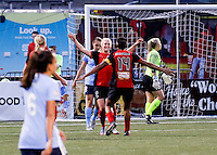 Rochester, NY - May 21, 2016: Western New York Flash Michaela Hahn (2) and teammate Jessica McDonald (14) during a National Women's Soccer League (NWSL) match at Sahlen's Stadium. The Western New York Flash go on to win 5-2.