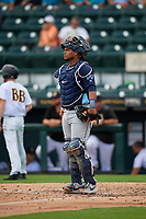 Charlotte Stone Crabs catcher Ronaldo Hernandez (27) during a Florida State League game against the Bradenton Marauders on April 10, 2019 at LECOM Park in Bradenton, Florida.  Bradenton defeated Charlotte 2-1.  (Mike Janes/Four Seam Images)