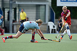 Mannheim, Germany, April 26: During the 1. Bundesliga Damen match between Mannheimer HC (red) and Uhlenhorster HC (light blue) on April 26, 2015 at Mannheimer HC in Mannheim, Germany. Final score 1-2 (0-2). (Photo by Dirk Markgraf / www.265-images.com) *** Local caption *** Roda Mueller-Wieland #14 of Uhlenhorster HC, Lydia Haase #12 of Mannheimer HC