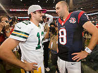 Green Bay Packers quarterback and reigning NFL MVP Aaron Rodgers greets Houston Texans quarterback Matt Schaub at the conclusion of the Packers 42-24 win at Reliant Stadium on Oct. 14, 2012.
