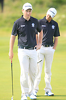 Graeme Robertson and Jack McDonald (SCO) on the 11th green during the Home Internationals day 2 foursomes matches supported by Fairstone Financial Management Ltd. at Royal Portrush Golf Club, Portrush, Co.Antrim, Ireland.  13/08/2015.<br /> Picture: Golffile   Fran Caffrey<br /> <br /> <br /> All photo usage must carry mandatory copyright credit (© Golffile   Fran Caffrey)