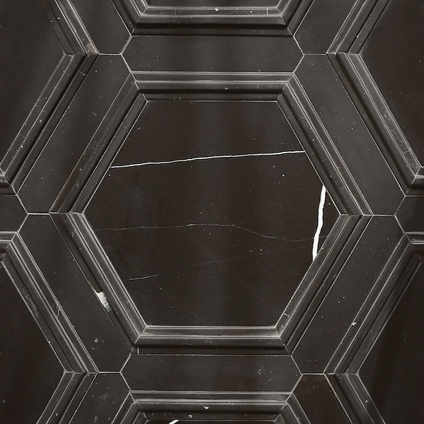 Coliseum stone mosaic shown in honed Nero Marquina and Venetian honed Nero Marquina, is part of the Altimetry® collection for New Ravenna.