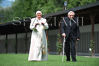 Pope's brother Georg Ratzinger.Pope Benedict XVI waves at the crowd as he arrives in Bressanone, near Bolzano, Italy . The Pontiff begun his Alpine vacation in this mountain resort of the Dolomites where he will remain until August 11.  ..July 28, 2008.