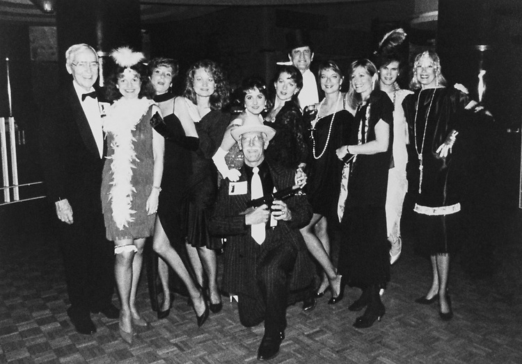 Rep. Charlie Wilson, D-Tex., and staff (former staff members pictured also). Great Gatsby party held on Sep. 23, 1990 at the River Club Georgetown. (Photo by CQ Roll Call)