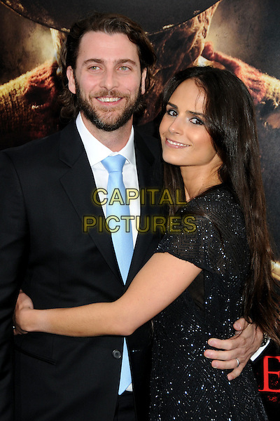 "ANDREW FORM & JORDANA BREWSTER .""A Nightmare On Elm Street"" Los Angeles Premiere held at Grauman's Chinese Theatre, Hollywood, California, USA, 27th April 2010..half length blue tie  smiling black dress sparkly beaded beard facial hair married couple husband wife suit arm arms around hugging hug .CAP/ADM/BP.©Byron Purvis/AdMedia/Capital Pictures."