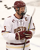 Michael Matheson (BC - 5) - The Boston College Eagles defeated the visiting University of New Brunswick Varsity Reds 6-4 in an exhibition game on Saturday, October 4, 2014, at Kelley Rink in Conte Forum in Chestnut Hill, Massachusetts.