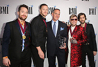 14 May 2019 - Beverly Hills, California - Dan Reynolds, Ben McKee, Daniel Platzman, Wayne Sermon of Imagine Dragons. 67th Annual BMI Pop Awards held at The Beverly Wilshire Four Seasons Hotel.   <br /> CAP/ADM/FS<br /> ©FS/ADM/Capital Pictures