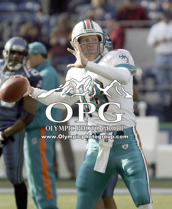 Miami Dolphins Quarterback Sage Rosenfels warms up before the start of the game against the Seattle Seahawks at Quest Field in Seattle, WA.
