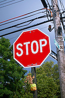 Stop sign seen in the Red Hook neighborhood of Brooklyn inNew York on Sunday, July 29, 2012. (© Richard B. Levine)