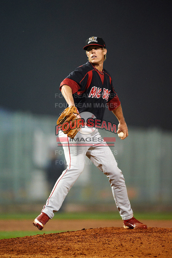 Batavia Muckdogs pitcher Lee Stoppelman #47 during the NY-Penn League All-Star Game at Eastwood Field on August 14, 2012 in Niles, Ohio.  National League defeated the American League 8-1.  (Mike Janes/Four Seam Images)