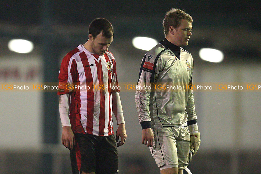 Disappointment for Joe Woolley (R) and Martin Tuohy at the final whistle - AFC Hornchurch vs Hastings United - Ryman League Premier Division Football at The Stadium - 06/03/12 - MANDATORY CREDIT: Gavin Ellis/TGSPHOTO - Self billing applies where appropriate - 0845 094 6026 - contact@tgsphoto.co.uk - NO UNPAID USE.