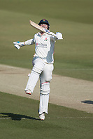 Rob Jones of Lancashire CCC punches the air with delight as he celebrate his century during Middlesex CCC vs Lancashire CCC, Specsavers County Championship Division 2 Cricket at Lord's Cricket Ground on 13th April 2019