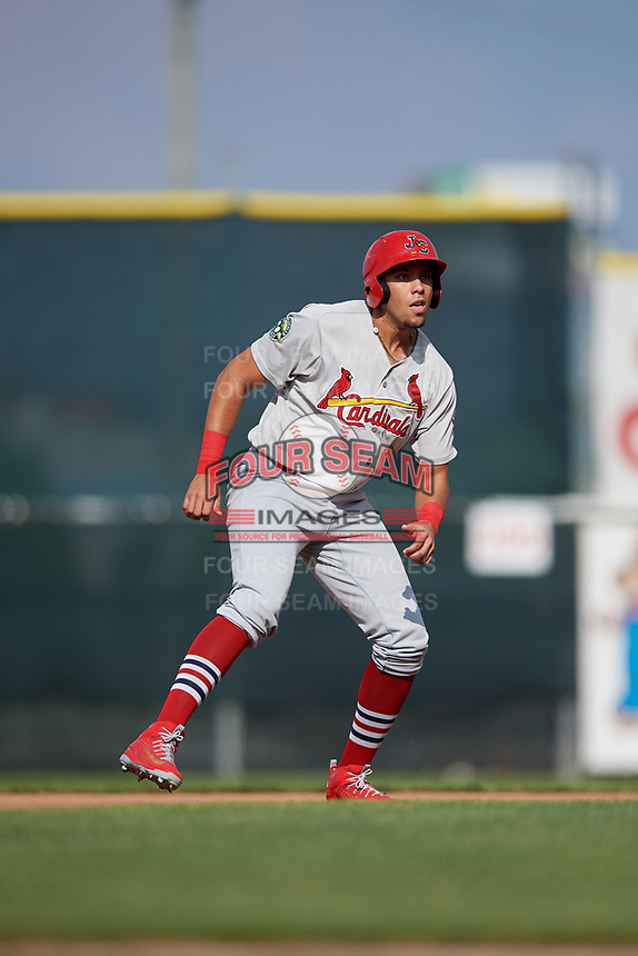 Johnson City Cardinals first baseman Dariel Gomez (25) leads off second base during the first game of a doubleheader against the Princeton Rays on August 17, 2018 at Hunnicutt Field in Princeton, Virginia.  Johnson City defeated Princeton 6-4.  (Mike Janes/Four Seam Images)