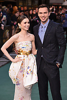 "LONDON, UK. April 29, 2019: Lilly Collins & Nicholas Hoult arriving for the ""TOLKIEN"" premiere at the Curzon Mayfair, London.<br /> Picture: Steve Vas/Featureflash"