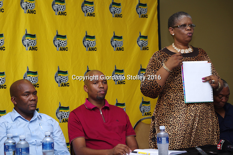 DURBAN - 22 February 2016 - The African National Congress's regional chairperson Zandile Gumede (standing) speaks at a press press conference in Durban where it was announced that the Delangokubona KZN Business Forum had agreed to stop disrupting municipal services. The group had complained that the eThekwini Metro Municipality was excluding them from bidding for municipal tenders. Looking on is the eThekwini Metro Municipality mayor James Nxumalo (left) and the ANC's eThekwini regional secretary Bheki Ntuli. Picture: Allied Picture Press/APP