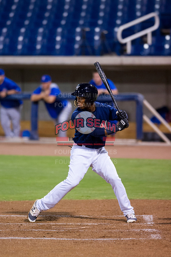AZL Brewers second baseman Jean Carmona (5) at bat against the AZL Cubs at Maryvale Baseball Park in Phoenix, Arizona. AZL Cubs defeated the AZL Brewers 9-1. (Zachary Lucy/Four Seam Images)