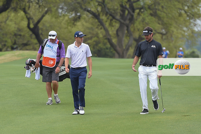 Justin Thomas (USA) and Bubba Watson (USA) walk down 6 during day 5 of the World Golf Championships, Dell Match Play, Austin Country Club, Austin, Texas. 3/25/2018.<br /> Picture: Golffile | Ken Murray<br /> <br /> <br /> All photo usage must carry mandatory copyright credit (© Golffile | Ken Murray)