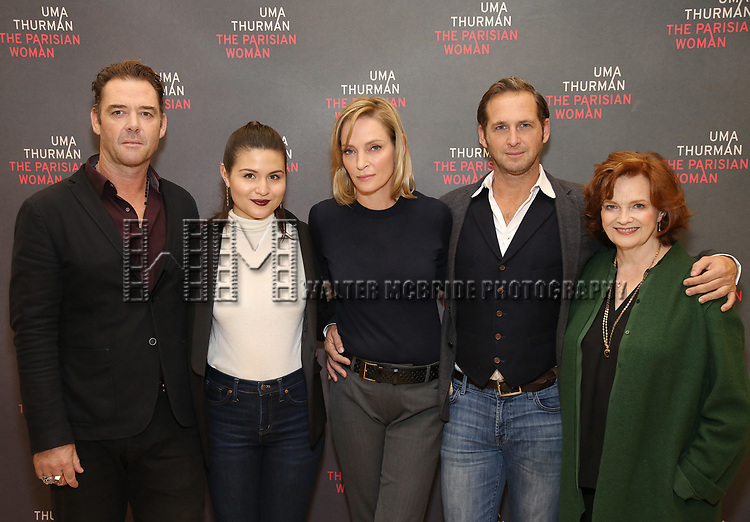 Marton Csokas, Phillipa Soo, Uma Thurman, Josh Lucas and Blair Brown attend the Meet & Greet Photo Call for the cast of Broadways 'The Parisian Woman' at the New 42nd Street Studios on October 18, 2017 in New York City.