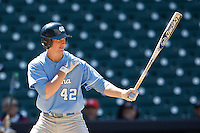 North Carolina Tar Heels designated hitter Grayson Atwood #42 at bat against the California Golden Bears in the NCAA baseball game on March 2nd, 2013 at Minute Maid Park in Houston, Texas. North Carolina defeated Cal 11-5. (Andrew Woolley/Four Seam Images).