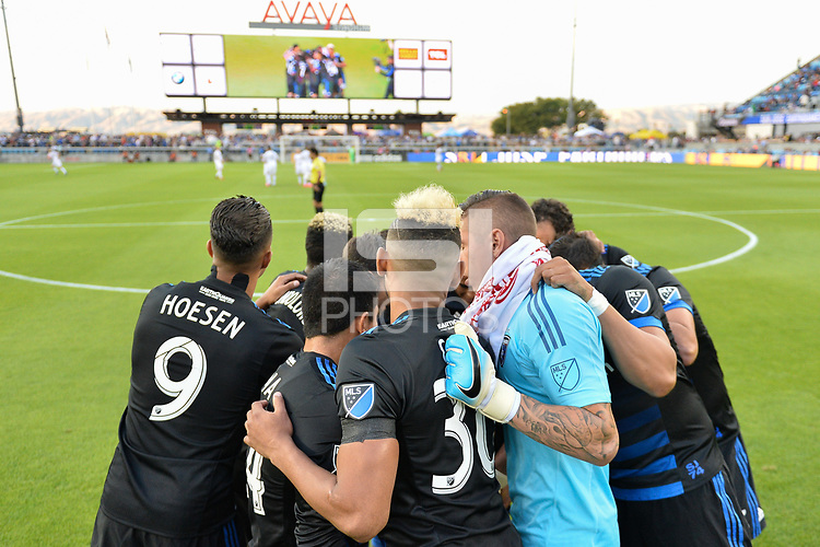 San Jose, CA - Saturday June 24, 2017: San Jose Earthquakes huddle during a Major League Soccer (MLS) match between the San Jose Earthquakes and Real Salt Lake at Avaya Stadium.