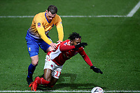 Matt Preston of Mansfield challenges Charlton's Tariqe Fosu in his own penalty area. No foul given during Charlton Athletic vs Mansfield Town, Emirates FA Cup Football at The Valley on 20th November 2018