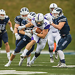8 October 2016: Amherst College Purple & White Running Back Jack Hickey, a Sophomore from Melrose, MA, breaks free for yardage during a game against the Middlebury College Panthers at Alumni Stadium in Middlebury, Vermont. The Panthers edged out the Purple & While 27-26. Mandatory Credit: Ed Wolfstein Photo *** RAW (NEF) Image File Available ***
