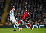 Manchester City's Kevin De Bruyne tussles with Liverpool's Sadio Mane during the Champions League Quarter Final 2nd Leg match at the Etihad Stadium, Manchester. Picture date: 10th April 2018. Picture credit should read: David Klein/Sportimage