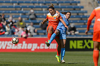 Bridgeview, IL - Saturday May 06, 2017: Amber Brooks, Vanessa DiBernardo during a regular season National Women's Soccer League (NWSL) match between the Chicago Red Stars and the Houston Dash at Toyota Park. The Red Stars won 2-0.