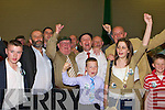 Michael Healy-Rae celebrates with his supporters at the Kerry County Council Killorglin area election count in the Aura Sports Centre in Killarney on Saturday..