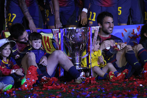 19.05.2013 Barcelona, Spain. Lionel Messi and Cesc Fabregas during the during the celebrations of the league championship 2012/13 at the Nou Camp