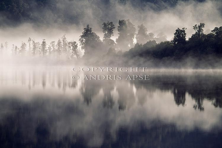 Early morning mist. Lake Wahapo. Westland New Zealand.