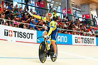 Picture by Alex Whitehead/SWpix.com - 10/12/2017 - Cycling - UCI Track Cycling World Cup Santiago - Velódromo de Peñalolén, Santiago, Chile - Ukraine's Liubov Basova and Olena Starikova win Gold in the Women's Team Sprint final.