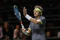 ABN AMRO World Tennis Tournament, Rotterdam, The Netherlands, 13 februari, 2017,  Denis Istomin (UZB) wins and celebrates<br /> Photo: Henk Koster