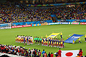 Two team group line-up, JUNE 14, 2014 - Football / Soccer : FIFA World Cup Brazil 2014 Group C match between Cote d'Ivoire and Japan at Arena Pernambuco in Recife, Brazil. (Photo by Kenzaburo Matsuoka/AFLO)