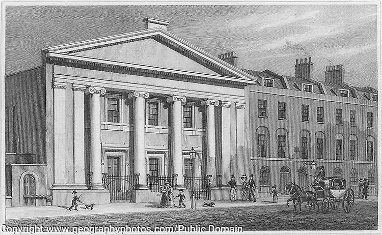 The Unitarian Chapel, Finsbury, engraving from 'Metropolitan Improvements, or London in the Nineteenth Century' London, England, UK 1828 , drawn by Thomas H Shepherd