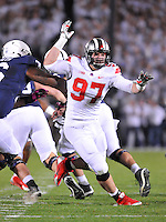 25 October 2014:  Ohio State DE Joey Bosa (97) had 2 1/2 sacks and 6 tackles. The Ohio State Buckeyes defeated the Penn State Nittany Lions 31-24 in 2 OTs at Beaver Stadium in State College, PA.
