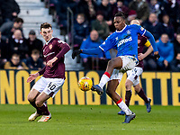 26th January 2020, Tynecastle Park, Edinburgh, Scotland; Scottish Premier League football, Hearts of Midlothian versus Rangers; Andrew Irving of Hearts and Joe Aribo of Rangers