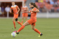 Allysha Chapman (15) of the Houston Dash looks to pass the ball against the Orlando Pride on Friday, May 20, 2016 at BBVA Compass Stadium in Houston Texas. The Orlando Pride defeated the Houston Dash 1-0.